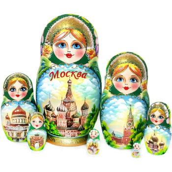 "Матрёшка ""Зелёная Москва"" (7 мест, 21 см)"