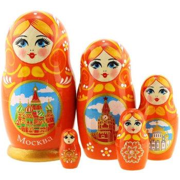 """Матрёшка """"Москва"""" оранжевого цвета (5 мест, 11 см)"""