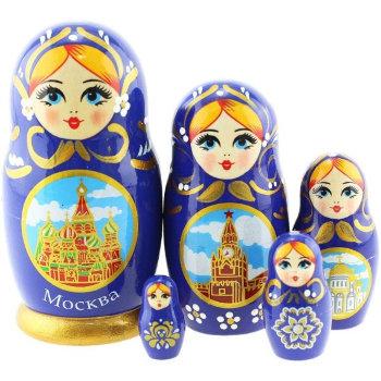 """Матрёшка """"Москва"""" синего цвета (5 мест, 11 см)"""