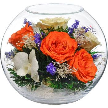 Розы и орхидеи в стекле BNM8 (18,5 см)
