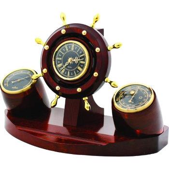 """Настольные часы """"Штурвал"""" с барометром и термометром"""