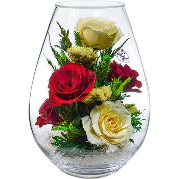 Розы в стекле FMR5c1 (21 см)