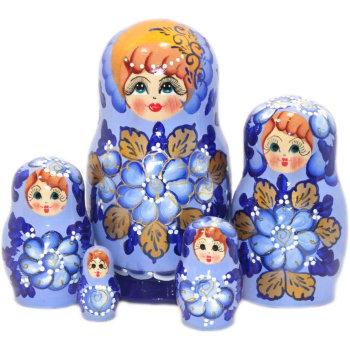 "Матрёшка ""Наташа"" синего цвета (5 мест, 17 см)"