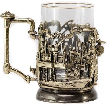 """Латунный подстаканник """"Нефтяники"""" со стаканом"""