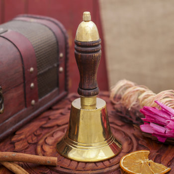 Латунный колокольчик с ручкой (17 см)
