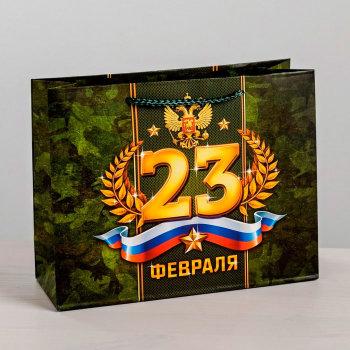 """Подарочный пакет """"С 23 февраля"""" (40 х 31 х 9 см)"""