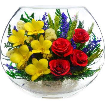 Розы и орхидеи в стекле EMM-07 (25 см)