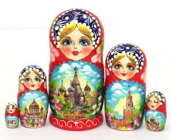"Матрёшка ""Виды Москвы"" (5 мест, 17 см)"