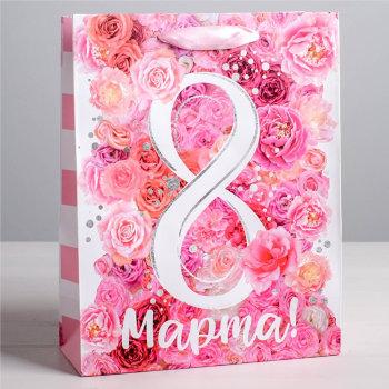 """Подарочный пакет """"Цветы на 8 марта"""" (23 х 18 х 8 см)"""