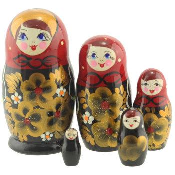 "Матрёшка ""Золотые цветы"" (5 мест, 11 см)"