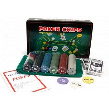 Набор для покера из 300 фишек с номиналом в жестяной коробке (с сукном)