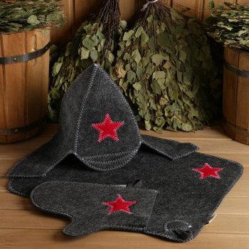 "Набор для бани ""Будёновец"" (шапка, коврик, рукавица)"