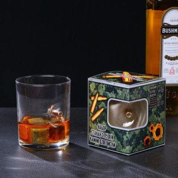 """Набор """"Военный"""" (бокал с пулей 250 мл, три камня для виски в мешочке)"""