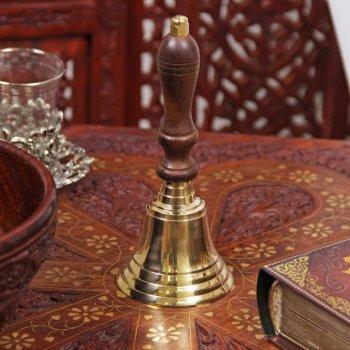 """Латунный колокольчик """"Отражение"""" с деревянной ручкой (16 см)"""