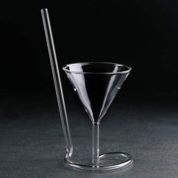 """Бокал для мартини """"Эльза"""" с трубочкой (180 мл)"""
