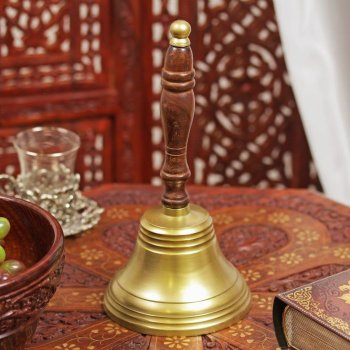 """Алюминиевый колокольчик """"Мощь"""" с деревянной ручкой (24,5 см)"""