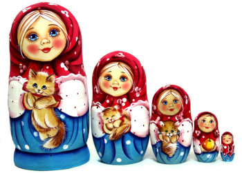 "Матрёшка ""Настя с котёнком"" (5 мест, 14 см)"