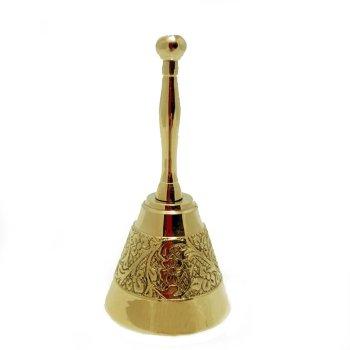 """Латунный колокольчик """"Резные узоры"""" с ручкой (11,5 см)"""