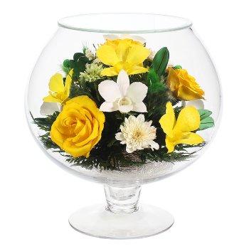 Розы и орхидеи в стекле GJM5 (23 см)