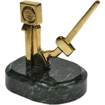 """Статуэтка """"Железнодорожная стрелка"""" из бронзы и змеевика (7 см)"""