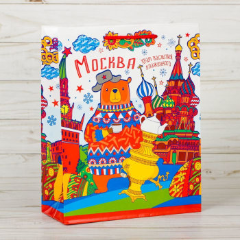 """Подарочный пакет """"Медведь в Москве"""" (23 х 18 х 8 см)"""