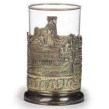 "Латунный подстаканник ""Старая Москва"" со стаканом"