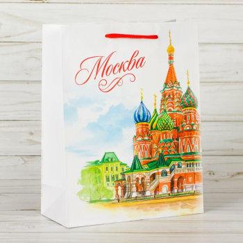 """Подарочный пакет """"Акварельная Москва"""" (23 х 18 х 8 см)"""