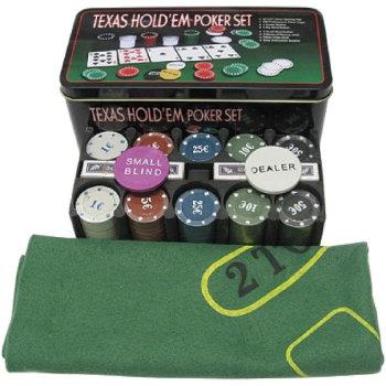 Набор для покера из 200 фишек с номиналом в металлической коробке (с сукном)