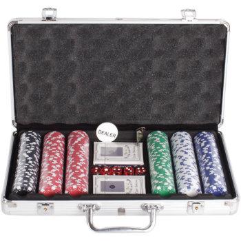 Набор для покера из 300 фишек с номиналом в кейсе