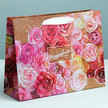 """Подарочный пакет """"Цветочные поздравления"""" (49 х 40 х 19 см)"""