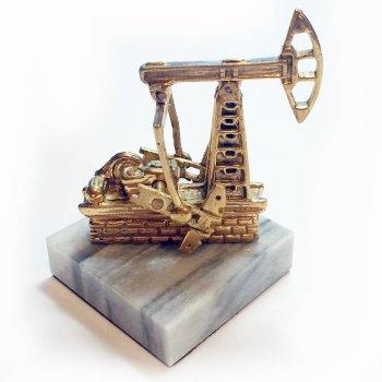 """Статуэтка """"Нефтяная качалка"""" из бронзы и мрамора (6 см)"""