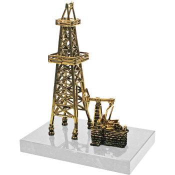 "Статуэтка ""Нефтяная вышка"" из бронзы и мрамора (16 см)"
