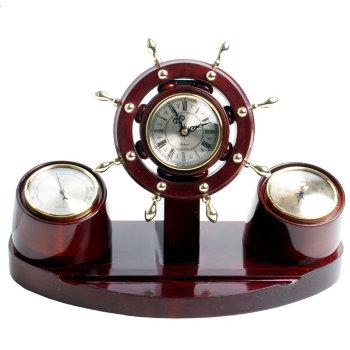 Настольная метеостанция Н-32 в виде штурвала (часы, барометр, термометр)
