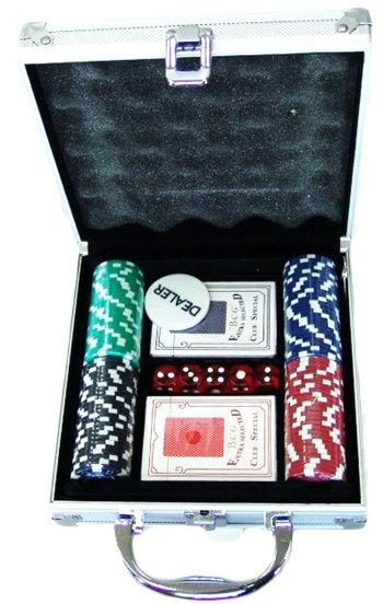 Набор для покера из 100 фишек с номиналом в кейсе