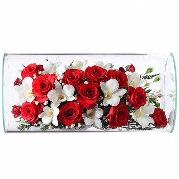 Розы и орхидеи в стекле TJM2 (32 см)