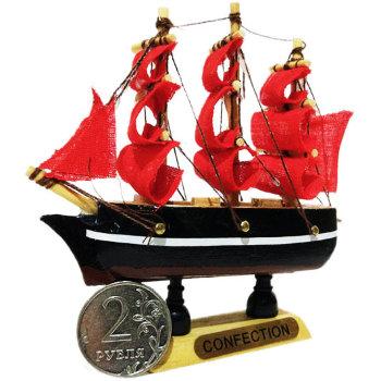 """Сувенирный кораблик """"Красные паруса"""" (10 х 10 х 3 см)"""