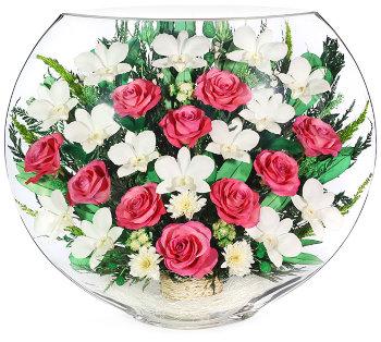 Розы и орхидеи в стекле ELMp (30 см)