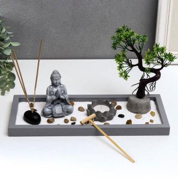"""Сад дзен """"Будда у дерева в саду с лотосом"""""""