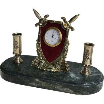 """Письменный прибор с часами """"Щит и мечи"""" из бронзы и змеевика (11,5 см)"""