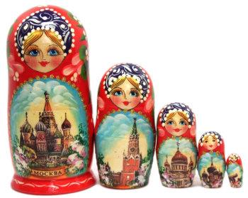 """Матрёшка """"Достопримечательности Москвы"""" (5 мест, 14 см)"""