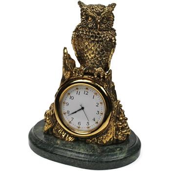 """Настольные часы """"Филин на пне"""" из бронзы и змеевика (14 см)"""
