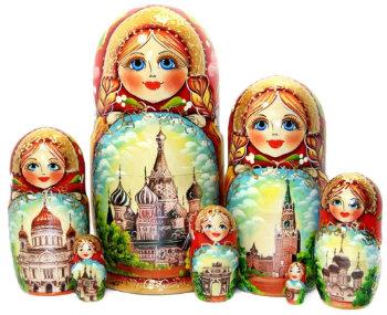 """Матрёшка """"Достопримечательности Москвы"""" (7 мест, 21 см)"""
