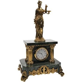 """Настольные часы """"Фемида"""" из бронзы и змеевика (27 см)"""