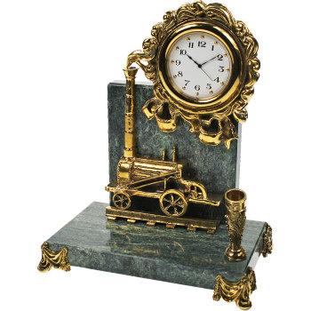 """Письменный прибор с часами """"Паровоз"""" из бронзы и змеевика (16 см)"""