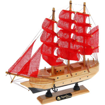 """Сувенирный корабль """"Красные паруса"""" (23 х 22 х 5 см)"""