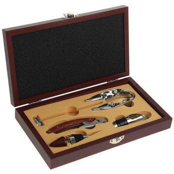 Набор аксессуаров для вина в деревянном футляре (5 предметов)
