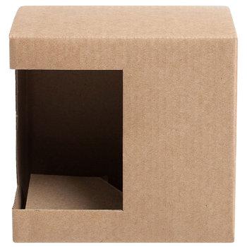 Подарочная крафт коробка для кружки 300-350 мл (с окошком)