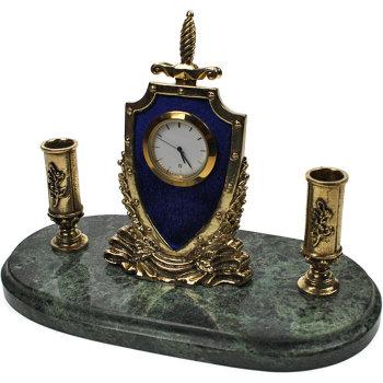 """Письменный прибор с часами """"Щит и меч"""" из бронзы и змеевика (13,5 см)"""