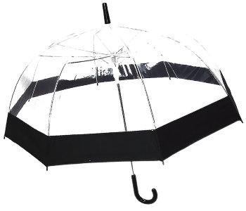 Прозрачный зонт трость с чёрным кантом