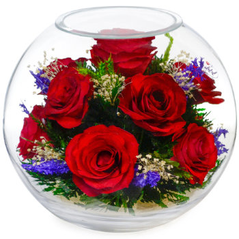 Розы в стекле BNR2 (18,5 см)
